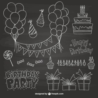 Birthday Party Scribbles Free Vector