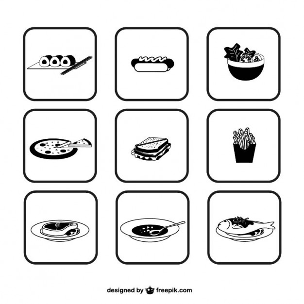 Black and White Food Icons Free Vector