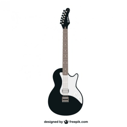 Black and White Guitar Free Vector