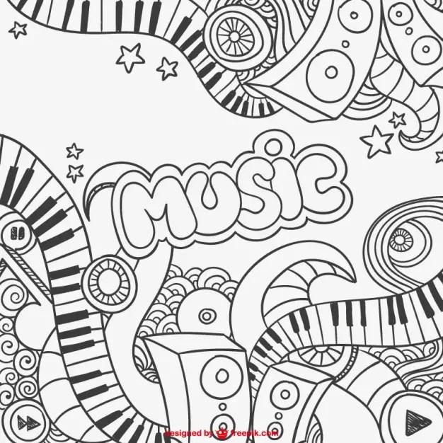 Black and White Music Graffiti Free Vector