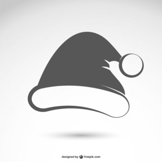 Black and White Santa Claus Hat Free Vector