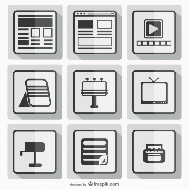 Black and White Square Icons Free Vector