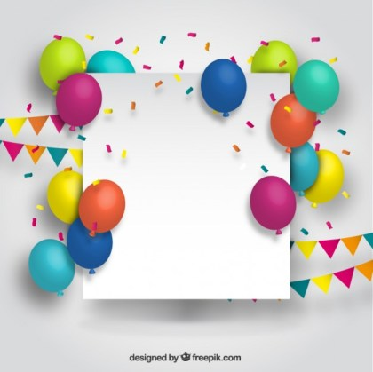 Blank Banner with Colorful Balloons Free Vector