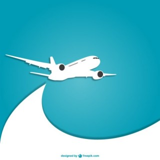 Blue and White Plane Free Vector