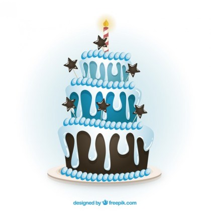 Blue Birthday Cake in Cartoon Style Free Vector