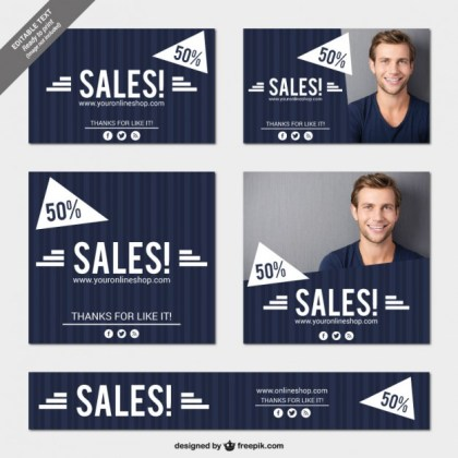 Blue Sales Banners Pack Free Vector
