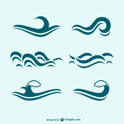 Blue Waves Icon Pack Free Vector