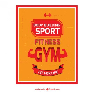 Body Building Poster Free Vector