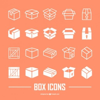 Box Flat Icons Collection Free Vector