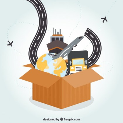Box with Travel Icons Free Vector
