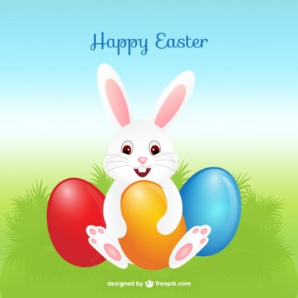 Bunny with Easter Eggs Free Vector
