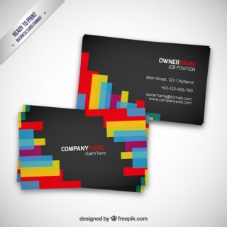 Business Card with Colorful Shapes Free Vector