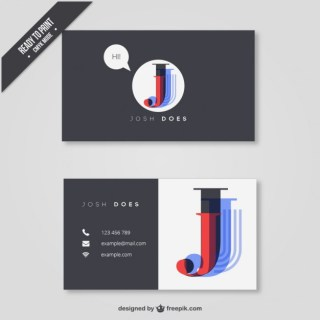 Business Card with The First Initial Free Vector