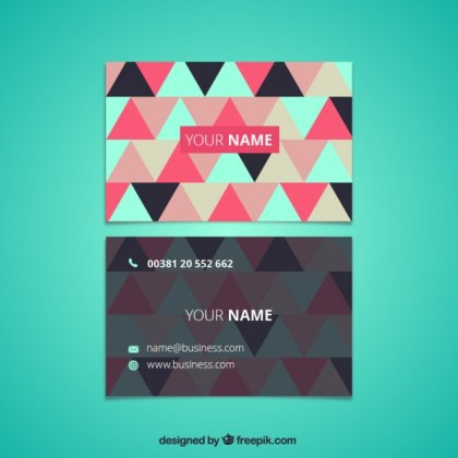 Business Card with Triangles Free Vector