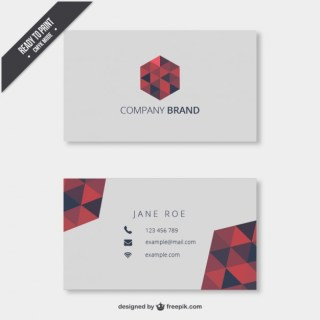 Business Card with Triangles Mosaic Free Vector