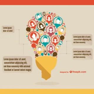 Business Organizational Infography Light Bulb Design Free Vector