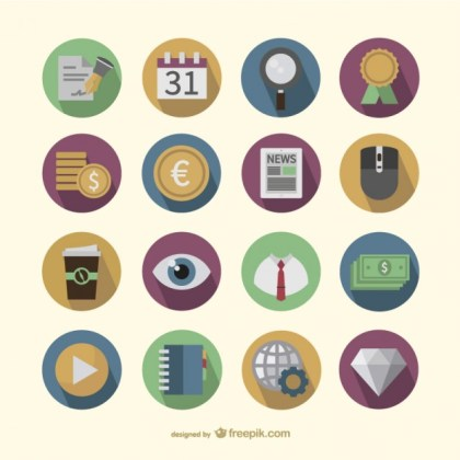 Business Round Icons Pack Free Vector