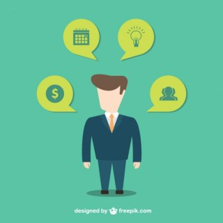 Businessman with Icons Free Vector