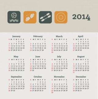 Calendar Sports and Health Concept Design Free Vector