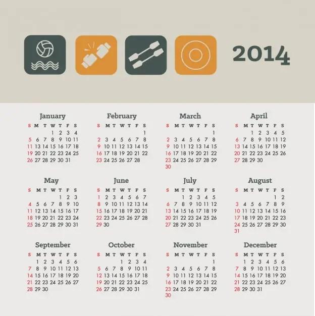 Calendar Sports and Health Concept Design Free Vector