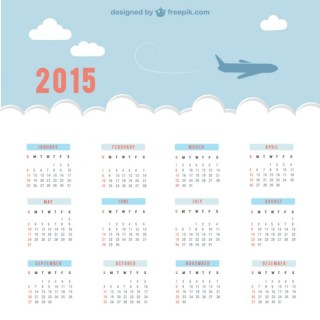 Calendar with Sky and Plane Free Vector