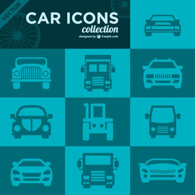 Car Icons Retro Collection Free Vector