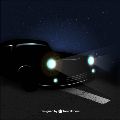Car in The Night Free Vector