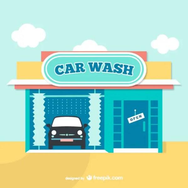 Car Wash Cartoon Free Vector