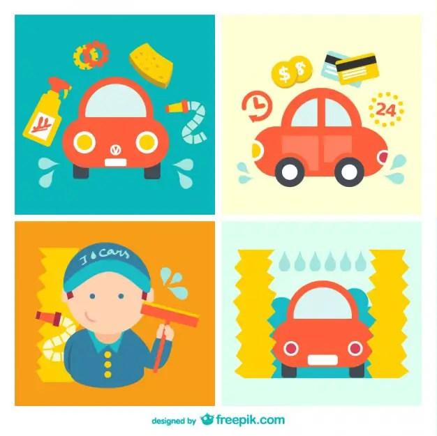 Car Wash Cartoon Pack Free Vector