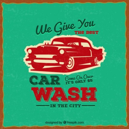Car Wash Poster in Retro Style Free Vector