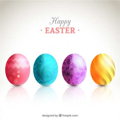 Card with Decorated Eggs for Easter Free Vector