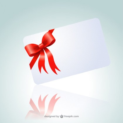 Card with Red Ribbon Free Vector