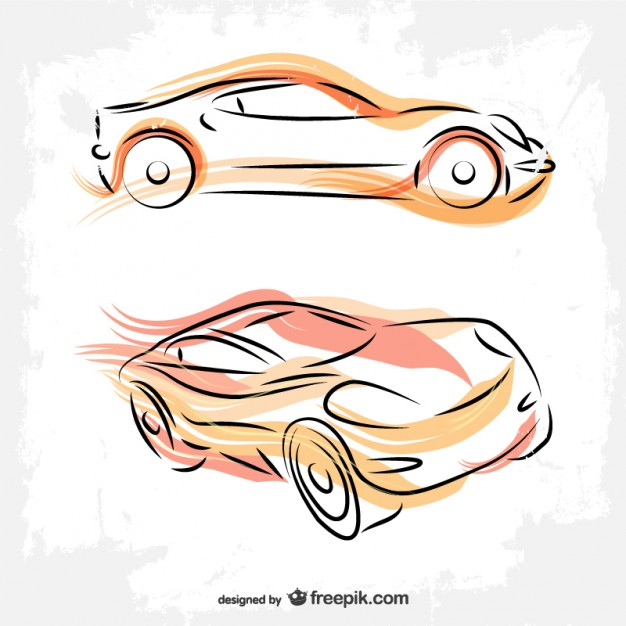 Cars Line Art Drawing Free Vector