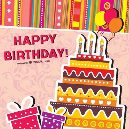 Cartoon Birthday Cards Free Vector