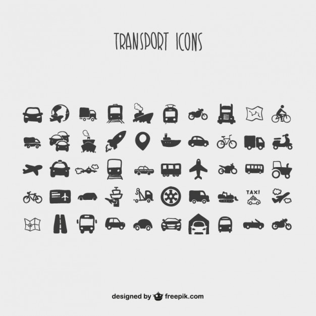 Cartoon Collection of Transport Icons Free Vector