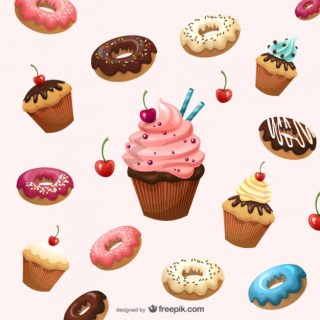 Cartoon Dessert Background Material Free Vector