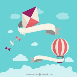 Cartoon Kite and Balloon Free Vector
