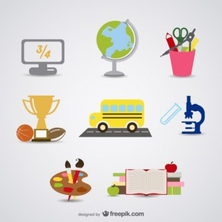 Cartoon School Supplies Material Free Vector