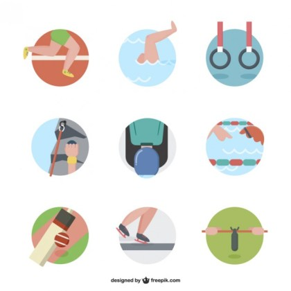 Cartoon Sport Icons Pack Free Vector