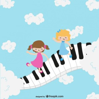 Children on Piano Keyboard Free Vector