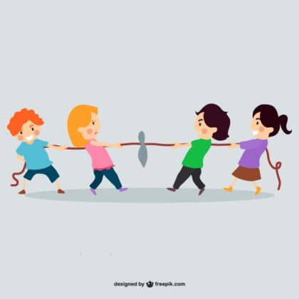 Children Playing with Rope Free Vector