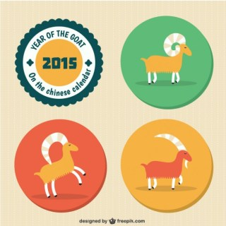 Chinese New Year with Goats Free Vector