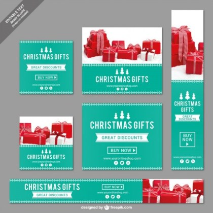Christmas Banners Collection Free Vector