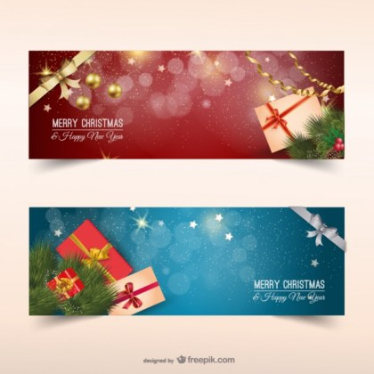 Christmas Banners with Presents Free Vector