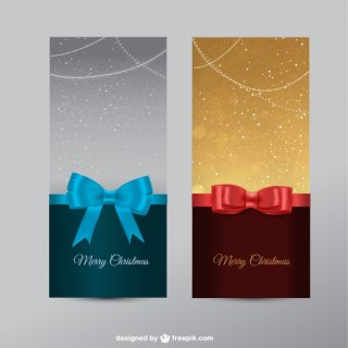 Christmas Banners with Ribbons Free Vector