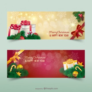 Christmas Banners with Sparks Free Vector