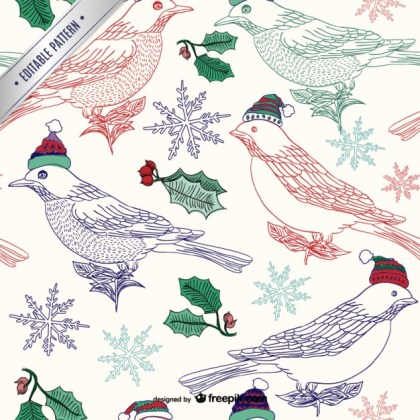 Christmas Birds Pattern Free Vector