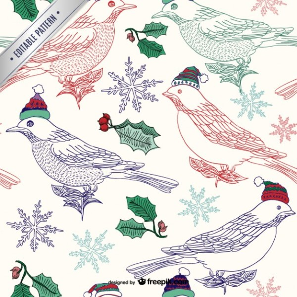Christmas Birds Pattern Free Vector