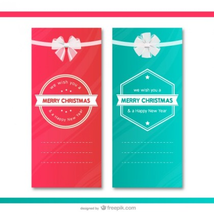Christmas Gift Cards Templates Free Vector
