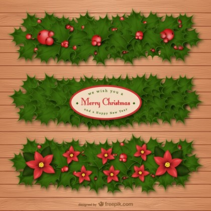 Christmas Holly Banners Free Vector